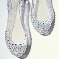 Melissa shallow mouth sweet flat heel crystal rhinestone open toe transparent flat sandals jelly shoes