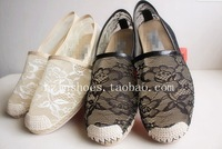 V lace flower genuine leather hemp rope flat heel women's shoes