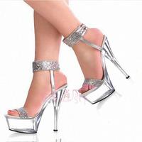 15cm ultra high heels platform fashion sandals crystal shoes princess 2012