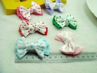 Wholesale 100pcs a lot cotton cute hair bows DIY  accessories diff color good for kids cloth clip decoration and ornament G40