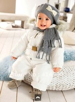2013 Newest 2-pcs Baby kids winter cotton-padded clothes suit(suspender trousers+fur thicken baby coat),1 set/lot,Free Shipping