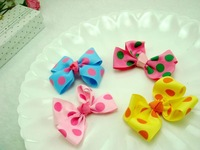 Wholesale 100pcs a lot silk cute hair bows DIY  accessories diff color good for kids cloth clip decoration and ornament G126