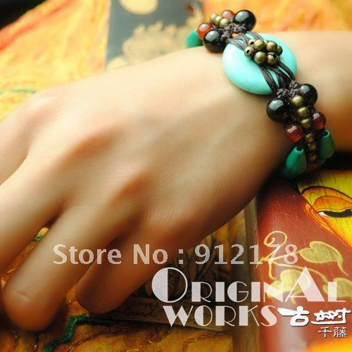 Thailand Ethnic Jewelry Turquoise copper beads red Onyx Black Agate hand wax rope Braided Bracelet christmas gift(China (Mainland))