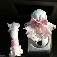 Flower Princess Lace Car Auto Dustproof Handbrake Gear Shift Cover White 2pcs