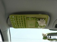 Toby Auto Car Single-deck Sun Visor Cover CD Holder Slot Case Green Beige 1pc
