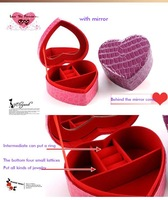 Love Jewelry Boxes Double Fashion Lovely Jewelry Box Cocodile Leather K8512