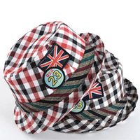 Free shipping autumn Christmas cute gentleman character photo plaid fedoras topper jazz hat cotton kids cap gift 1 pc a lot