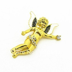 Free Shipping Wholesale Fashion Cupid Brooches 55*42mm Brooch Pin Fit Christmas Festival Tree Gift New Design 12pcs/lot HB037(China (Mainland))