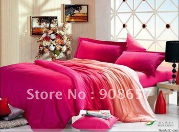 violet red pink omber color printing cotton bedding sets duvet quilt covers sets 4pcs for Queen/full comforter bed in a bag sets