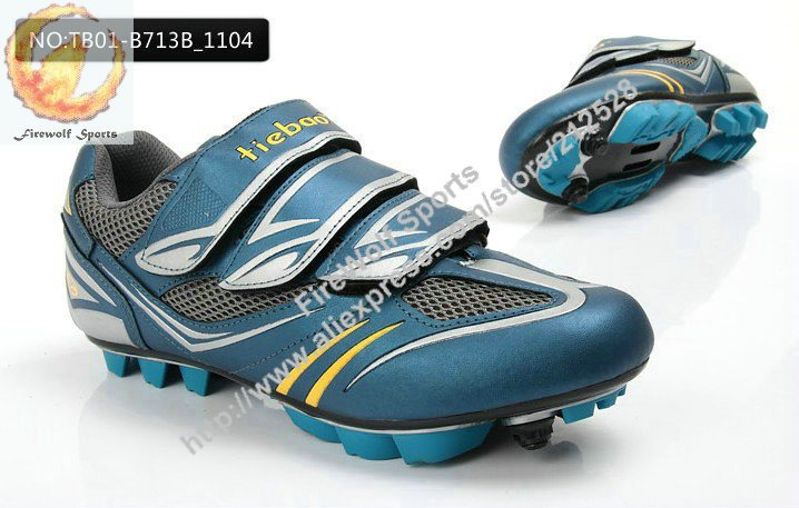 Mens MTB Cycling Shoes DEEP BLUE Athletic Shoes w. Lock breathable PVC leather upper Nylon-fibreglass soles racing bicycle(China (Mainland))
