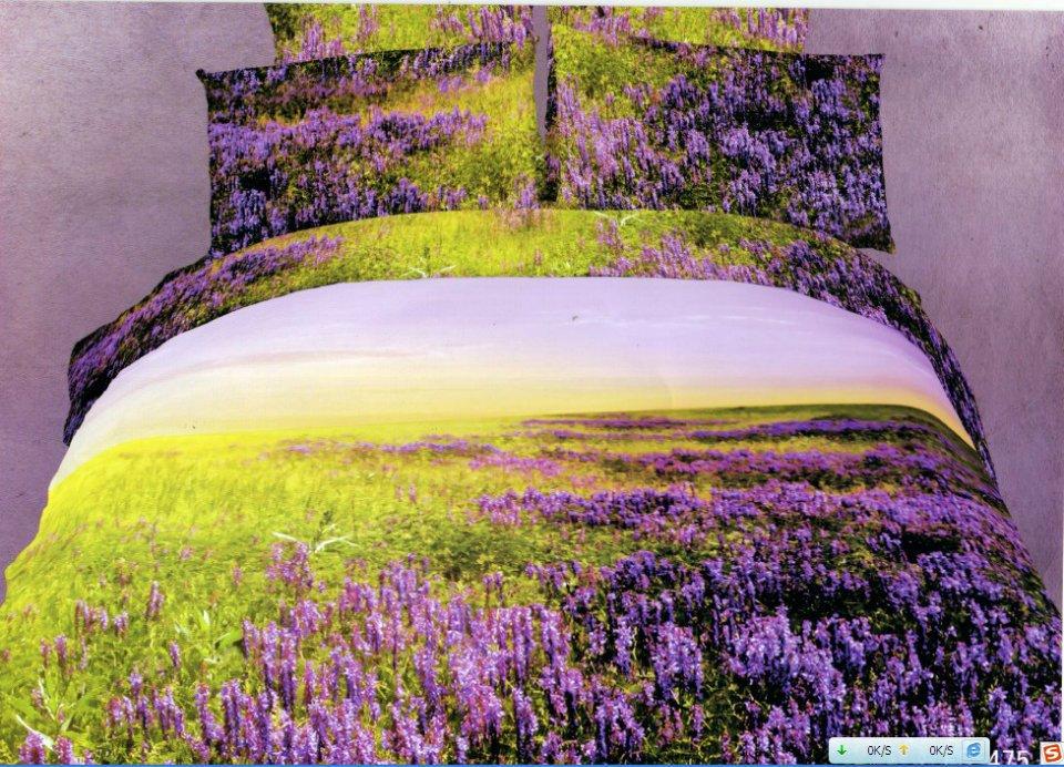 Purple lavender flower prints egyptian cotton bedding sets duvet quilt