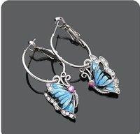 Fashion Hot Sale New Style Elegant Girls Shiny Rhinestone  alloy Blue Butterfly Earrings E79