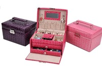 Fashion Jewelry Boxes Senior PU Jewelry Square Three Large Capacity Jewelry Box 3 Colour K8524