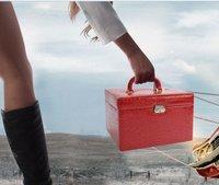 Portable Jewelry Boxes Luxury Crocodile Leather pattern Storage Box Increase case Trinket Box K8520