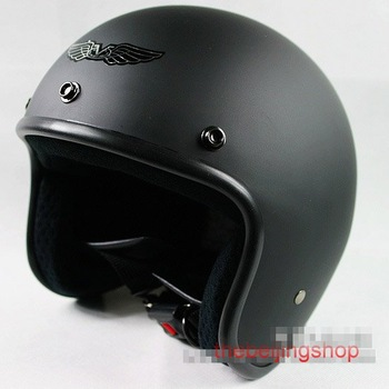 Wholesale New Full Black Motorcycle Scooter MotorBike Vintage 3/4 Open face bubble helmet , free size
