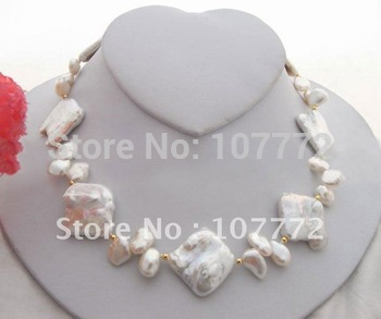 Excellent! 26mm White Keshi Pearl Necklace +free shippment