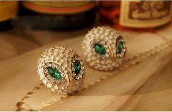 мода горячие продажа нового стиля падение нефти зеленый глаз сова серьги стержня e109