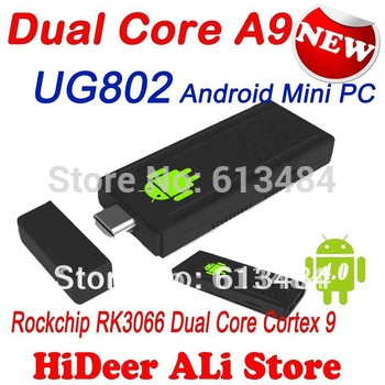 UG802 Dual core Android 4.1.1 Rockchips 3066 Mini PC IPTV Internet Smart google TV Box 1GB RAM 4GB ROM  Free Shipping