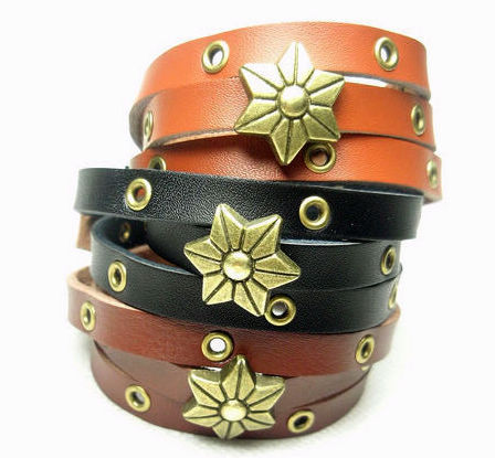 Mix Long design spirally-wound type fashion punk flower quality genuine leather bracelet 3(China (Mainland))
