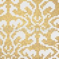 [Mius Art Mosaic] Wave gold mirror & white color art Glass mosaic tile  puzzle KL106