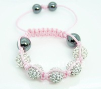 Fashion Jewelry Kids Child Baby Children Shamballa Bracelet, New Tresor Paris, CZ Disco Ball Bead B35