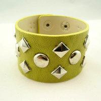 Mix Feel fashion personality punk silver rivets leather bracelet leather bracelet