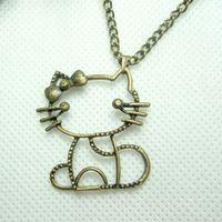 Mix Exquisite vintage bronze color hello kitty necklace