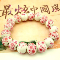 Mix Hoarded small national trend personality red flowers bloom ceramic beads beaded bracelet