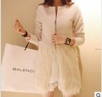 Free Shipping New arrival autumn patchwork Woolen women coat medium-long woolen outerwear Faux Fur Overwear121001#3