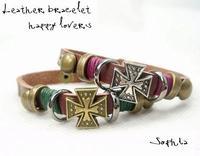 Mix 2 piece Vintage punk fashion quality genuine leather four leaf grass lovers leather bracelet ring