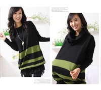 2012 maternity clothing autumn and winter stripe maternity sweater top sweater