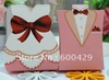 400pcs/lot  200 Bride & 200 Groom Pink Evening dress Wedding Favours Boxes / Guest Gifts / Table Decoration Free Shipping