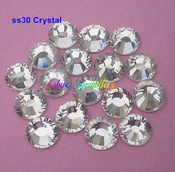 Free Shipping! 288pcs/Lot, ss30 (6.3-6.5mm) Crystal/Clear Flat Back Nail Art Non Hotfix Rhinestones