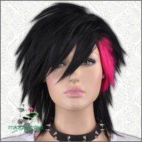 GW410 Black Short Straight Untidy Popular Punk Goth Wig