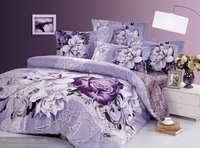 New Beautiful 4PC 100% Cotton Comforter Duvet Doona Cover Sets FULL / QUEEN / KING SIZE bedding set 4pcs Light purple Sally