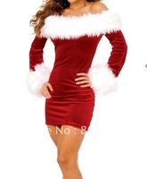 Free Shipping Off Shoulder Sexy Christmas Costume Dress with G-string Fancy X-mas Cosplay Uniform Suit Red Color MOQ 1Piece 1161