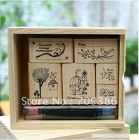 Cute Shinzi katon Bird design Wooden stamp with Ink pad stamp set