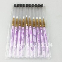 10pcs/lot Acrylic Nail Art UV Gel Carving Pen Brush Gel Nail Brushes NO.6