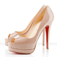 2012 nude color japanned leather open toe single shoes wedding shoes high-heeled shoes platform ultra high heels red sole shoes