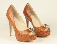 2012 brown sheepskin open toe high-heeled single shoes l sandals ultra high heels platform women's shoes red sole shoes