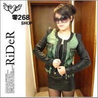 2012 women's autumn shalang denim patchwork outerwear pocket zipper slim denim outerwear