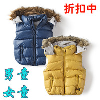2012 autumn and winter children's clothing child cotton vest male female child with a hood vest baby wadded jacket fur collar