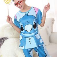 2014 summer stitch one piece cartoon cotton women short-sleeve sleepwear sets lounge