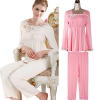 LZ  Autumn and winter women's long sleeve length pants sleep set elegant embroidery flare sleeve plus size XL XXL lounge 6033