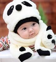 RETAIL!! Autumn winter children's hat scarf set , panda Modeling baby hats , velvet ear muff cap Color : pink blue beige white