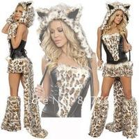 Sexy Furry Leopard Print Furry Halloween Costume Halloween Cat Wolf Leopard Nightclub Clothing