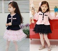 wholesale 5pcs/lot kids/girl five botton design long sleeve lace dress 2colors for autumn