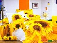 New Beautiful 4PC 100% Cotton Comforter Duvet Doona Cover Sets FULL / QUEEN / KING SIZE bedding set 4pcs yellow Big sunflower