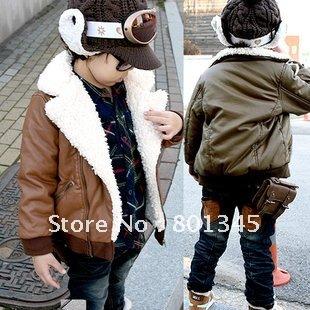 Frete grátis, 1pcs / lote de 2012 novo casaco crianças da marca, roupas infantis de inverno casacos de algodão reflexivas , na pele , Plush 2-8T , amarelo brack(China (Mainland))