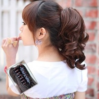 Free shipping Woman Short Wavy Curly Claw Ponytail Clip Horsetail Head Hair Extensions
